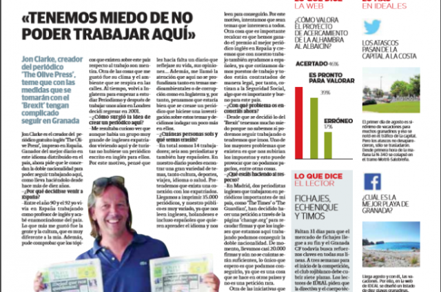 Spanish newspaper praises Olive Press' historic front page